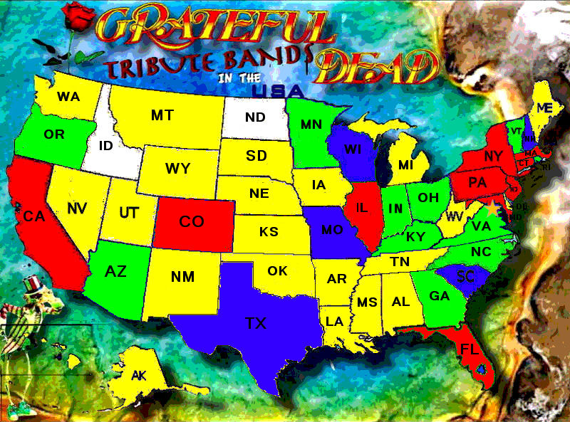 United States Map With Compass Rose.Grateful Dead Tribute Bands In The Usa